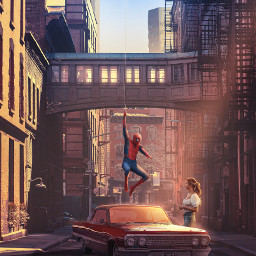 beauty picsart papicks spiderman spiderweb peterbparker marvel surrealism superhero car girl city street road sunlight sun freetoedit