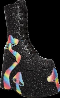 clothes boots boot fashion shoes shoes4fashion platforms platformshoes alt altfashion trippy trippyaesthetic rainbow rainbowaesthetic glitter blackglitter blackaesthetic blackrainbow mushrooms aesthetic sparkly laceupboots freetoedit