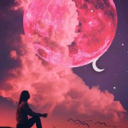 surreal moon clouds pinkaesthetic freetoedit