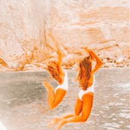 water beach sand people girls girl swim rock mountain freetoedit