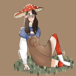 mcyt dreamsmp mushroomgeorge genderswapped iamsimping mcytfanart dreamsmpfanart cottagecore goblincore kinokokingdom mushroom art drawing digitalart drawnbyme juicethegoose