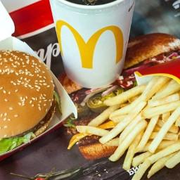 macdonalds resturant fastfood chips burger drink food ninahayess freetoedit