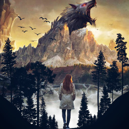 surrealism fantasy replayit inspirational inspiration freetoedit walking girl monster freemix forest mountain
