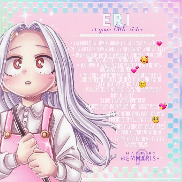 ᴏᴘᴇɴ ᴍᴇ ->  Who else needs an Eri in their life!?🍭🍎 *:・゚✧*:・゚✧*:・゚✧*:・゚✧*:・゚✧*:・゚✧*:・゚✧*:・゚✧ 𝙷𝚒 𝚊𝚐𝚊𝚒𝚗! 𝙷𝚘𝚠'𝚜 𝚢𝚘𝚞𝚛 𝚍𝚊𝚢 𝚐𝚘𝚒𝚗𝚐? 𝙶𝚘𝚘𝚍, 𝙸 𝚑𝚘𝚙𝚎! 𝚆𝚎𝚕𝚕 𝚊𝚗𝚢𝚠𝚊𝚢𝚜, 𝙸 𝚖𝚊𝚍𝚎 𝚝𝚑𝚎𝚜𝚎 𝚑𝚎𝚊𝚍𝚌𝚊𝚗𝚗𝚘𝚗𝚜 𝚏𝚘𝚛 𝚢𝚘𝚞 𝚊𝚗𝚍 𝙸 𝚑𝚘𝚙𝚎 𝚝𝚑𝚎𝚢 𝚙𝚞𝚝 𝚊 𝚜𝚖𝚒𝚕𝚎 𝚘𝚗 𝚢𝚘𝚞𝚛 𝚏𝚊𝚌𝚎.  🌻🌻🌻🌻🌻🌻🌻🌻🌻🌻🌻🌻🌻🌻🌻🌻🌻 ❤𝓣𝓱𝓲𝓼 𝓗𝓮𝓪𝓭𝓬𝓪𝓷𝓸𝓷 𝔀𝓪𝓼 𝓻𝓮𝓺𝓾𝓮𝓼𝓽𝓮𝓭 𝓫𝔂:  @katiekittykatmeow ❤𝓝𝓮𝔁𝓽 𝓱𝓮𝓪𝓭𝓬𝓪𝓷𝓸𝓷:  Aizawa as a dad *:・゚✧*:・゚✧*:・゚✧*:・゚✧*:・゚✧*:・゚✧*:・゚✧*:・゚✧ REMIX RULES: If you remix my work, you must follow and give me credit in the description. Thankyou❤ *:・゚✧*:・゚✧*:・゚✧*:・゚✧*:・゚✧*:・゚✧*:・゚✧*:・゚✧ ➷➷➷➷➷𝙵𝚛𝚒𝚎𝚗𝚍𝚜 𝚝𝚘 𝚏𝚘𝚕𝚕𝚘𝚠➶➶➶➶➶ @kirishimamanlyboi {My Smile Buddy💗} @official_aoyama {Can't Stop Twinkling 😌🌟} @bubbleslimer232 {Sweetest Person Alive🍬🍭} @tenya_iida-official {Ingenium🖤🏃♂️💨} @official_serohanta {Friendliest Person Alive🥇} @tsukishandbandage {I love chu💕} @antisocial_mel {Overprotective Short Baby😌🦋✨} @aesthetic_editsbbyy {a rãt🐀} (There's probably more, but this is who I thought of right away❤} @butterfly-art {that Sasuke-simp✨} @-e-l-s-i-e- {Just... Amazing🖤} @-_kisumi-here_- {Queen of Support👑}   𝕋𝕒𝕘𝕝𝕚𝕤𝕥 𝔽𝕣𝕖𝕚𝕟𝕕𝕤🥡  --------------------- @aflackizalzogacha {love} @leblanc_orlando @-_kisumi-here_- {the todoroki simp🥺☁️🤍} @daniel__________ {🧀} @mhafanguuuuuuurl {I told you, call me Tsu 🐸} @glamouroki_ {IcyHot❄🔥} @kirishimamanlyboi {😎Sofia} @yang-yangiee {rando nctzen🌱} @anime-gorl {baby hawk} @official_kaori {Kaori} @andy4yourlife {bakugo's wifey} @silkyhairillumi {Angel❤} @horned_riot {Riot} @iisimplybaileyii {Bailey♡} @loveu_forever56 {boom boom boi} @-_hobiiii_- {yamagucci} @tsukishandbandage {🄷🄸🅁🄾🖤} @rubywolfyt {shoto's long lost sister} @-madhattersdaughter- {Beautiful💫⭐} @jules11tosoroki @antisocial_mel {Overprotective Short Baby😌🦋✨} @-_-xxliz-aftonxx-_- {𝕊𝕦𝕟𝕤𝕙𝕚𝕟𝕖☀️} @_randomthing_ {Broccoli Simp Alert🚨🥦} @official_aoyama {Can't Stop Twinkling 😌🌟} @official_serohanta {Cellophane💫} @pan_nonb_anime {Bakugo's Twin Sister} @todoroki-boba {shoto's best friend❄} @crypton1te {BISH BISHY} @fr0gg0 {DENKI!!!!!!!} @strawberryjammer23 {Berry} @the_real_