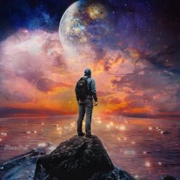 surreal fantasy reflection moon planet sunset night stars water freetoedit