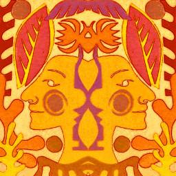 symmetry mirrored mirroreffect orangeandyellow faces artyedit