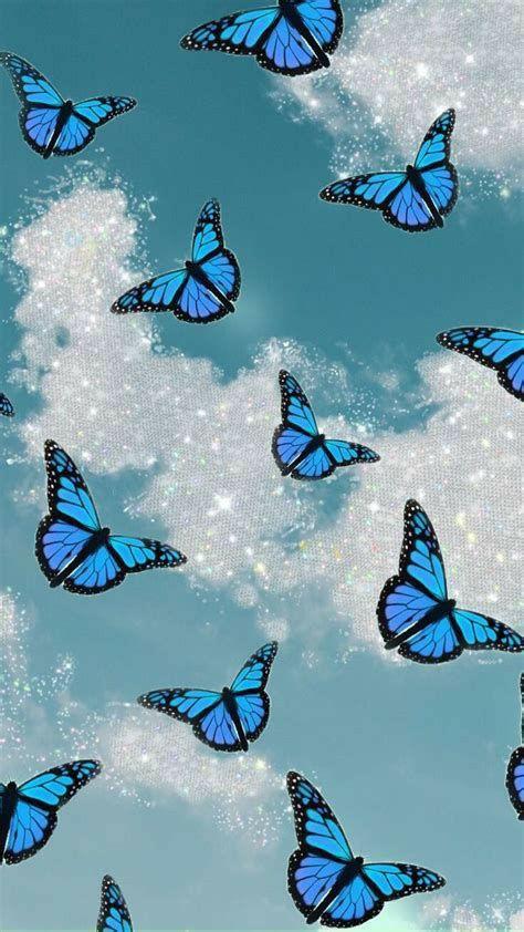 #mariposas #azul #asthetic  #cielo #dia #nuves #celeste #fondo #mariposa