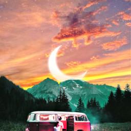 sky camping berg moon women relax urlaub freetoedit