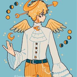 fresh_bobatae boii angel cupid moonaesthetic cresentmoon moonshadows angelic sparkles mustardyellow lightbluebackground starconstellations heartarrow sexy cool cute kawaii anime anumestyle wings glitter wallpaper