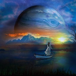 blue fantasy surreal landscape planet sunset freetoedit eccolorpaletteclassicblue colorpaletteclassicblue