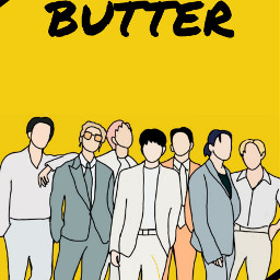 bts butter army kimnamjoon kimseokjin junghoseok minyoongi parkjimin kimtaehyung jeonjungkook purple drawing outline aesthetic yellow smoothlikebutter