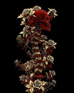 skeleton spine flowers aesthetic red freetoedit