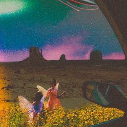landscape magic desert car ufo space galaxy meadow girls ksy green purple blue rainbow pink light dark reflection fairy mythical aesthetic collage stay open stayopen