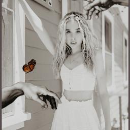 freetoedit jennadavis pipersquad girl house blackandwhite butterfly butterflies renaissance hands lusynda9 rcrenaissancehands renaissancehands