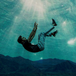 underwater person moutains remixit freetoedit