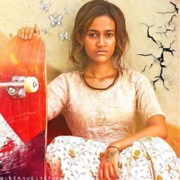 freetoedit madeby creatorstephanie interesting girl skateboard skategirl girledit butterflies flowers crack crackonwall