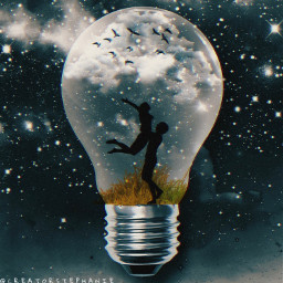 freetoedit madeby creatorstephanie interesting nightbackground lightbulb couple grass clouds sparkles effects birds