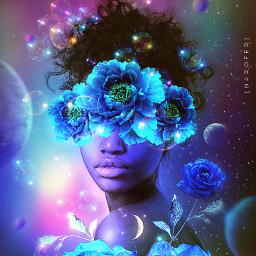 freetoedit madewithpicsart surreal aesthetic manipulation creative nightsky stars makeawesome imagineabrighterreality visualart sky Woman space flowers galaxy myedit