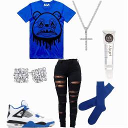 freetoedit blueoutfit blue blueclothes baddie baws cross lipgloss diamonds trendy socks bluesocks