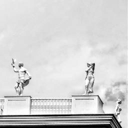 myphotography blackandwhite statues blackandwhitephotography background sky freetoedit