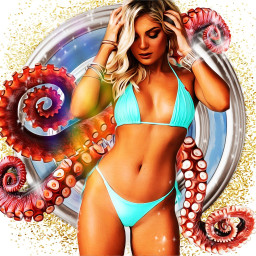 tentacles bikini babe pinup