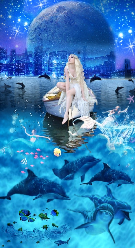 #waterworld #freetoedit #galaxy #moon #underwater #beautifulgirl #pretty #sarahsalsas #1800 #ifollowback #inlovewiththis #dolphins#bluehair  #wallpaper #background #love #ocean #stunner #blueaesthetic #underwater #surreal #fantasy #magical #beauty #art   Omg, this turned out better than I expected. 🥰🥺