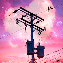 madeby creatorstephanie interesting heart streets electricpole utilitypole pink sky clouds bubbles moon birds sparkles sparklebackground p whataboutus songlyrics replay freetoedit