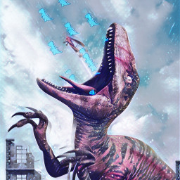 freetoedit dinosaurio art pink blue city sky falling challenge srccutedinos cutedinos