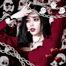 freetoedit clc yeeun clcyeeun vampire red grunge blood chain edit bat dark vamp pixel goth ghost heart drain