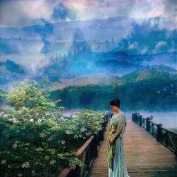fantasy landscape water fog mountains bridge freetoedit local