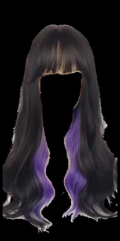 #hair #wig #bangs #blackhair #longhair #wavyhair #longblackhair #purplehair #purplehighlights #blackandpurple #purpleandblack #freetoedit #egirlhair