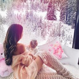 pillow girl lady bed teddybear window winter trees cup mug pink white snow beautiful freetoedit picsart ircdesignthepillow2021 designthepillow2021
