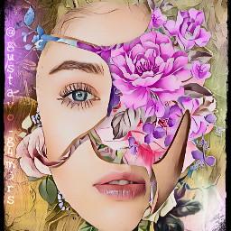 porcelain face flowers frame souleffect freetoedit