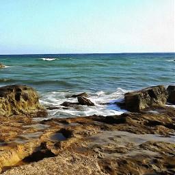 sea waves rocks landscape picture artistic remix freetoedit