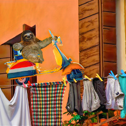 freetoedit laundry laundryline scooter modercycle sloth cute adorable surreal abstract building sitting trippy clothes window italy