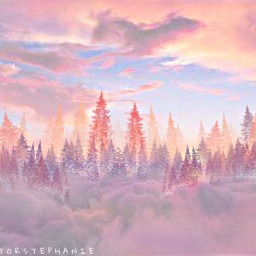 freetoedit madeby creatorstephanie interesting replay forest clouds sky pinkishedit
