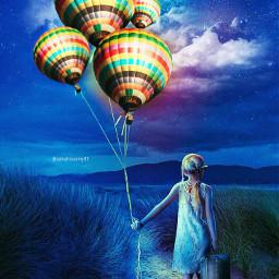 freetoedit balloons girl baggage sky cloud light night beautiful local srcflyingairballoons flyingairballoons