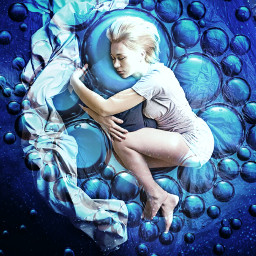 freetoedit spaceart space art reaplay girl buble bubles sphere blue stars local