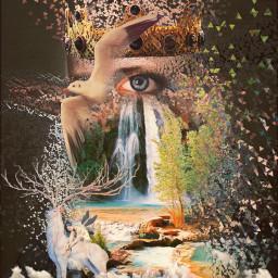 freetoedit abstract eye birds antlers deer rain waterfall nature triangles trees green greenery rocks river