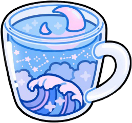 kawaii sticker art japan coffee coffeetime blue wave ocean love cute aesthetic freetoedit