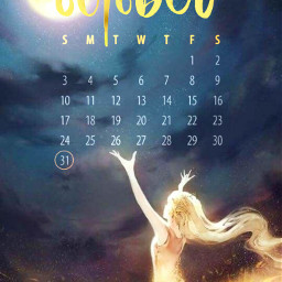 octobercalendar october girl angel sky golden moon freetoedit local srcoctobercalendar2021 octobercalendar2021