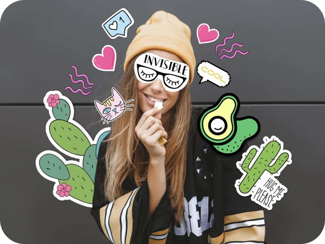 blond hair girl with cactus, heart, avocado and cut stickers