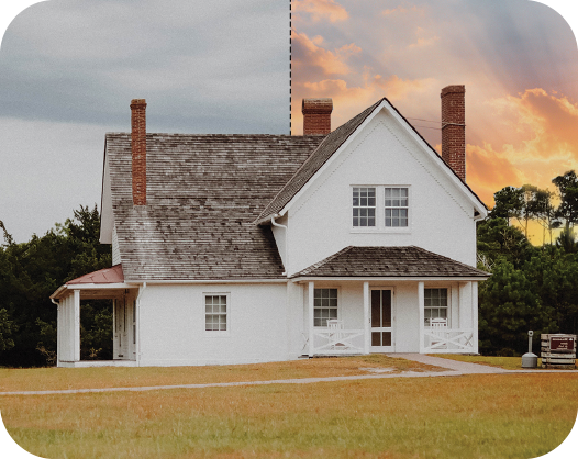 image of a house from outside with a change sky effect applied