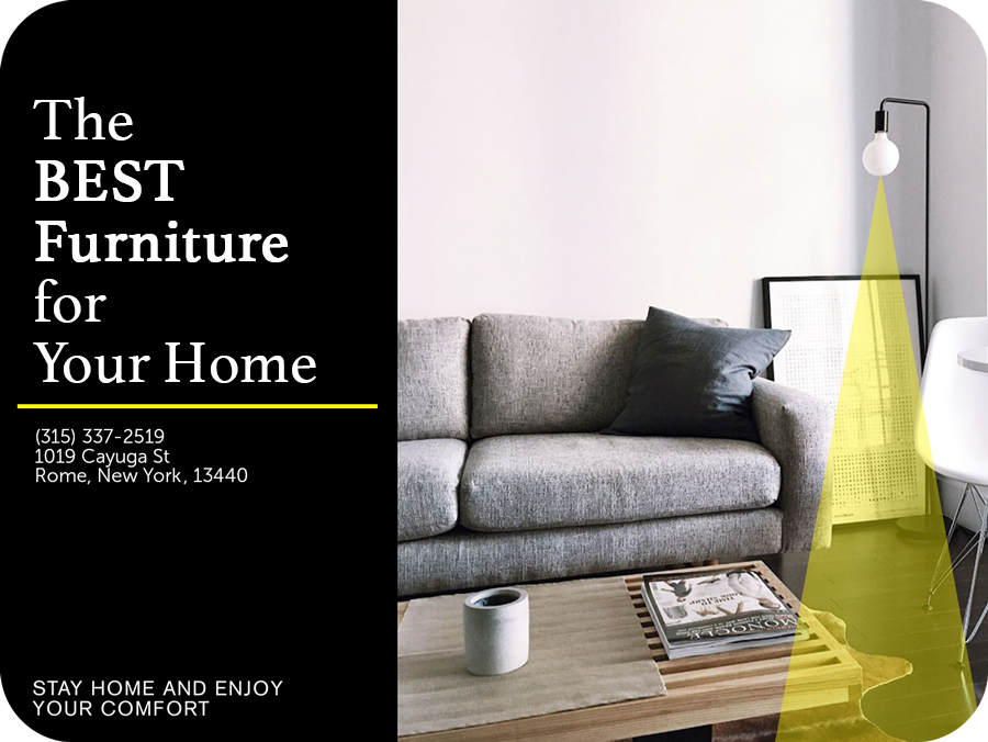 the best furniture for your home text on a brochure template
