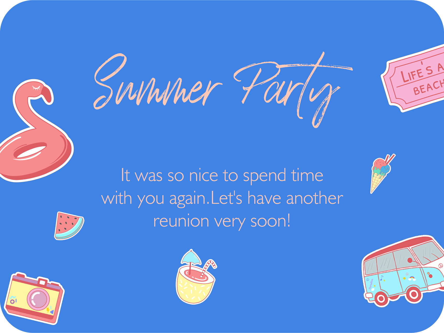 summer party card template design