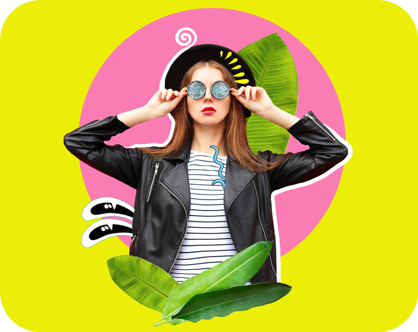 cool girl with glasses and leaves stickers over colourful background