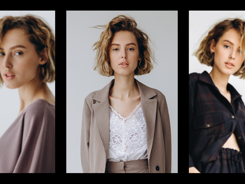 short hair girl with different styles photo collage