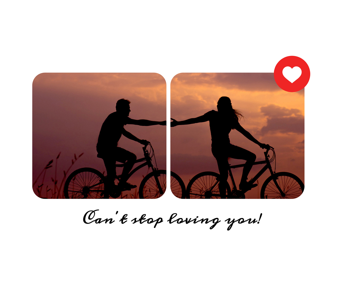 can't stop loving you text on a couple's photo collage template
