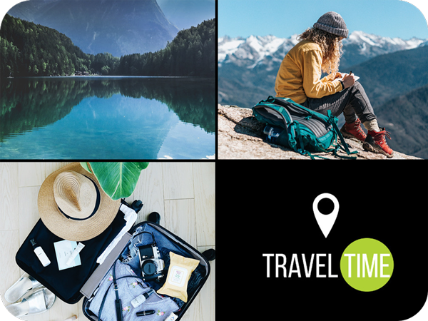 travel time on a travel photo collage template