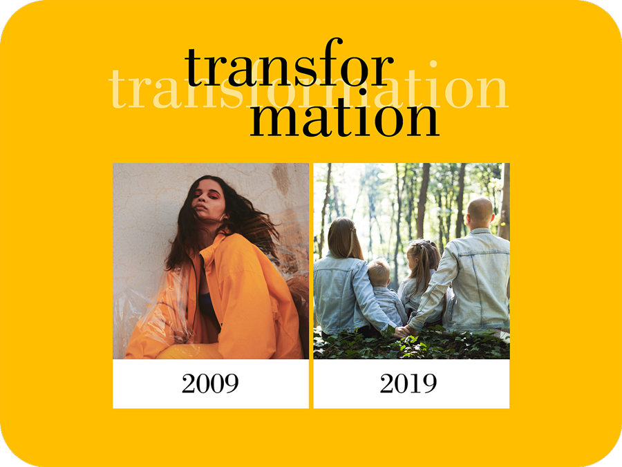 transformation text on a 10 years challenge image collage template